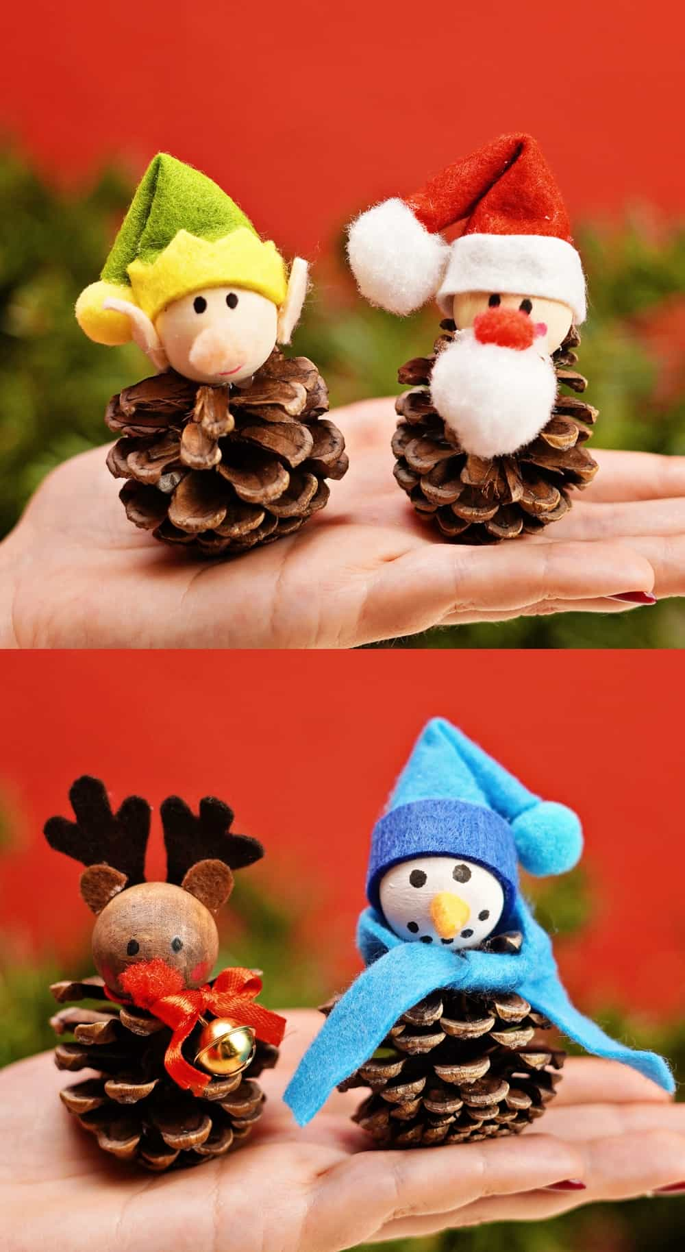 fun pinecone christmas craft of egg and Santa and reindeer and snowman