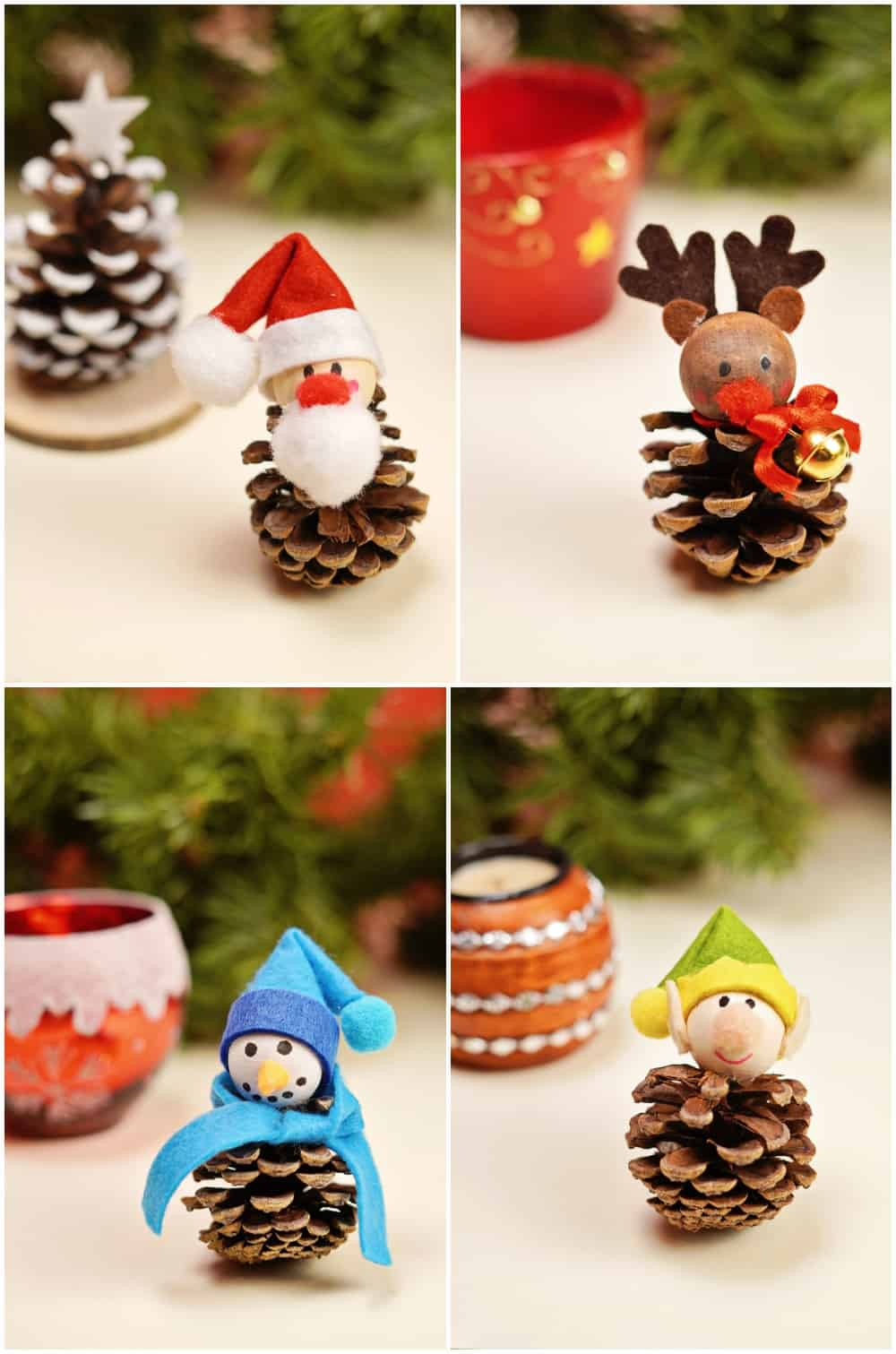 four pinecone crafts that are DIY for kids