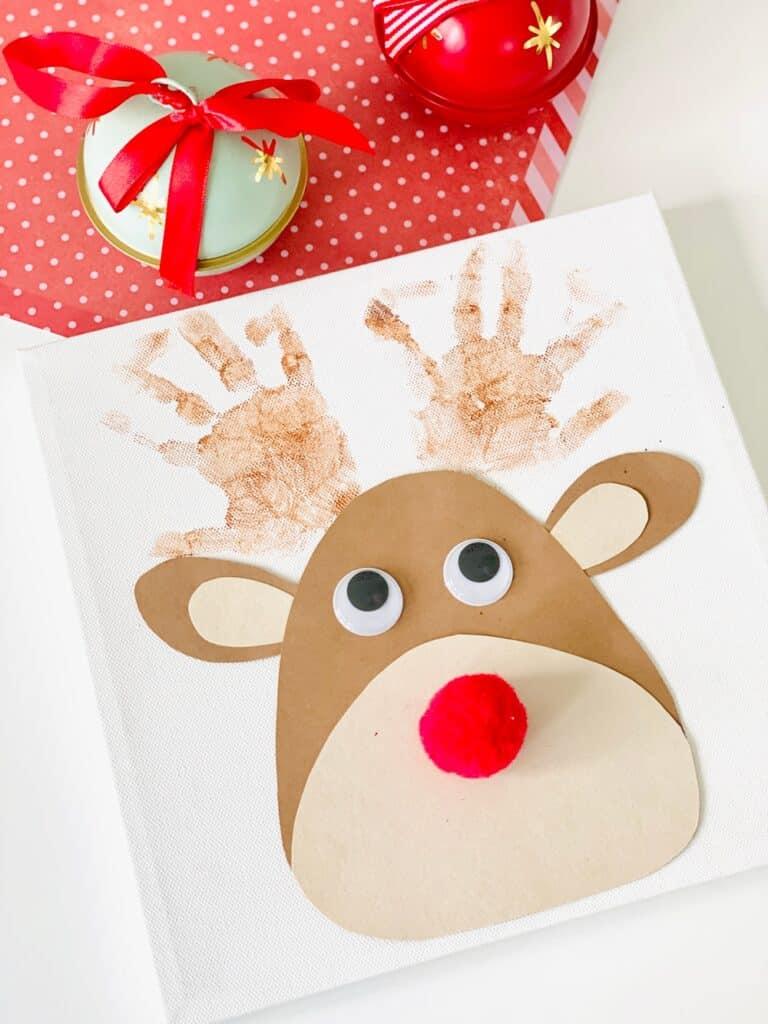 Rudolph Reindeer Handprint Art