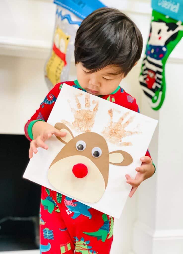 Christmas Handprint Art Rudolph