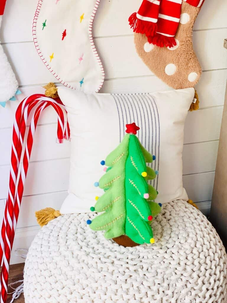 Christmas stuffed tree and candy cane decorations