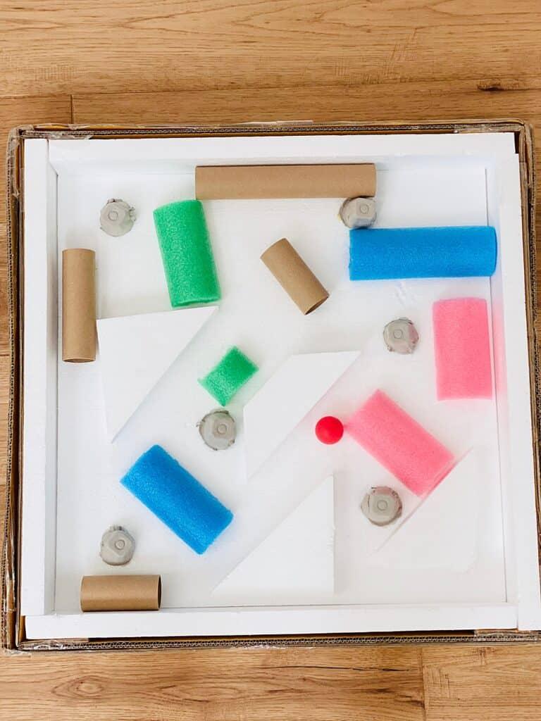 cardboard box marble ball maze