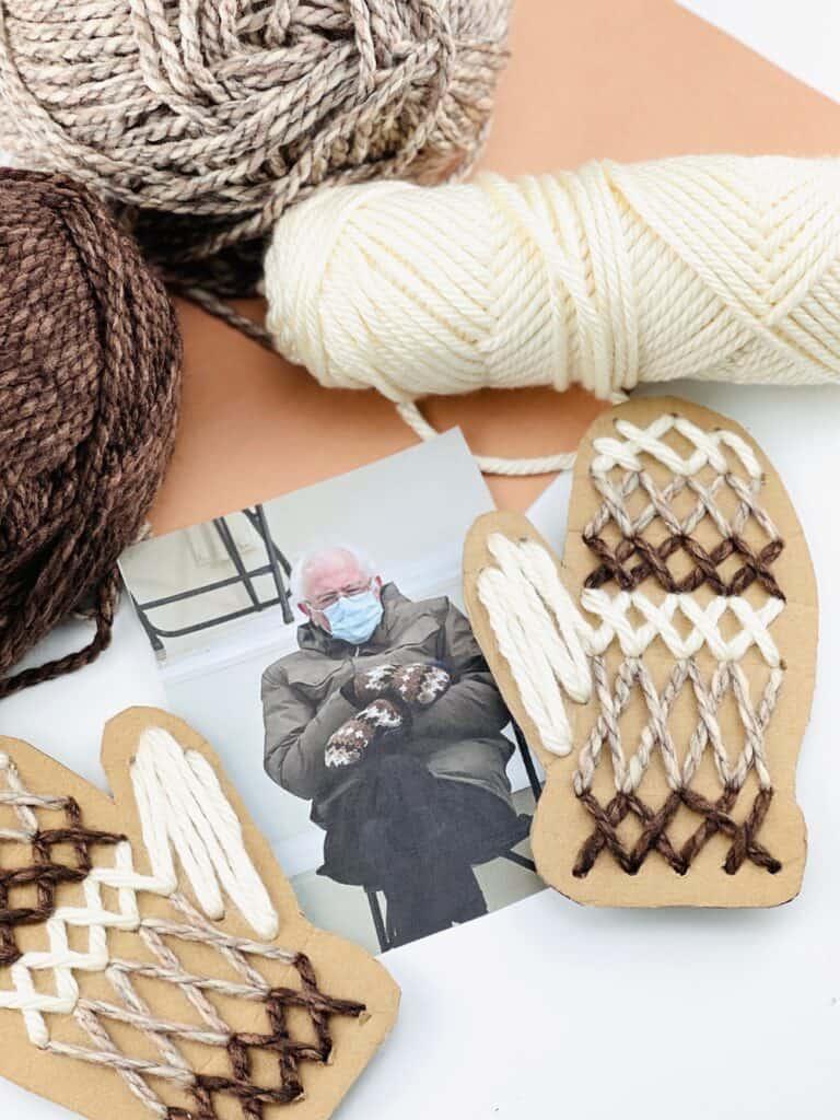 cardboard mitten craft Bernie Sanders