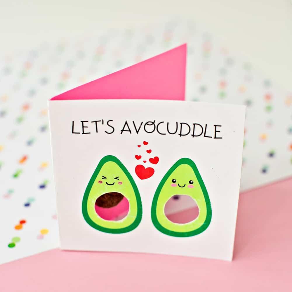 DIY Avocado Avocuddle Valentine Card