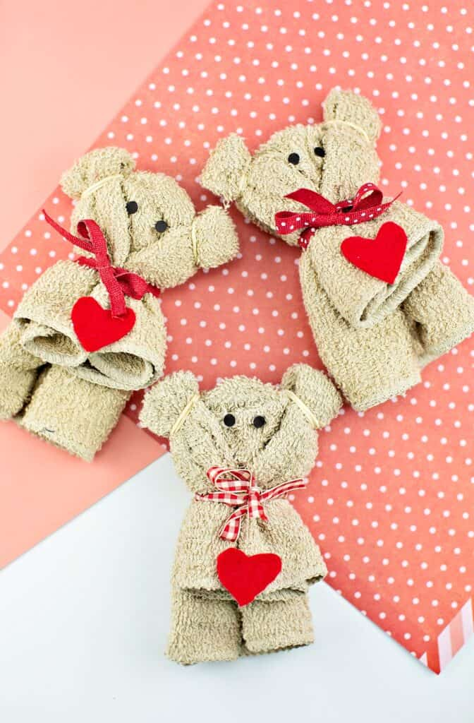 how to make a towel bear valentine craft for kids