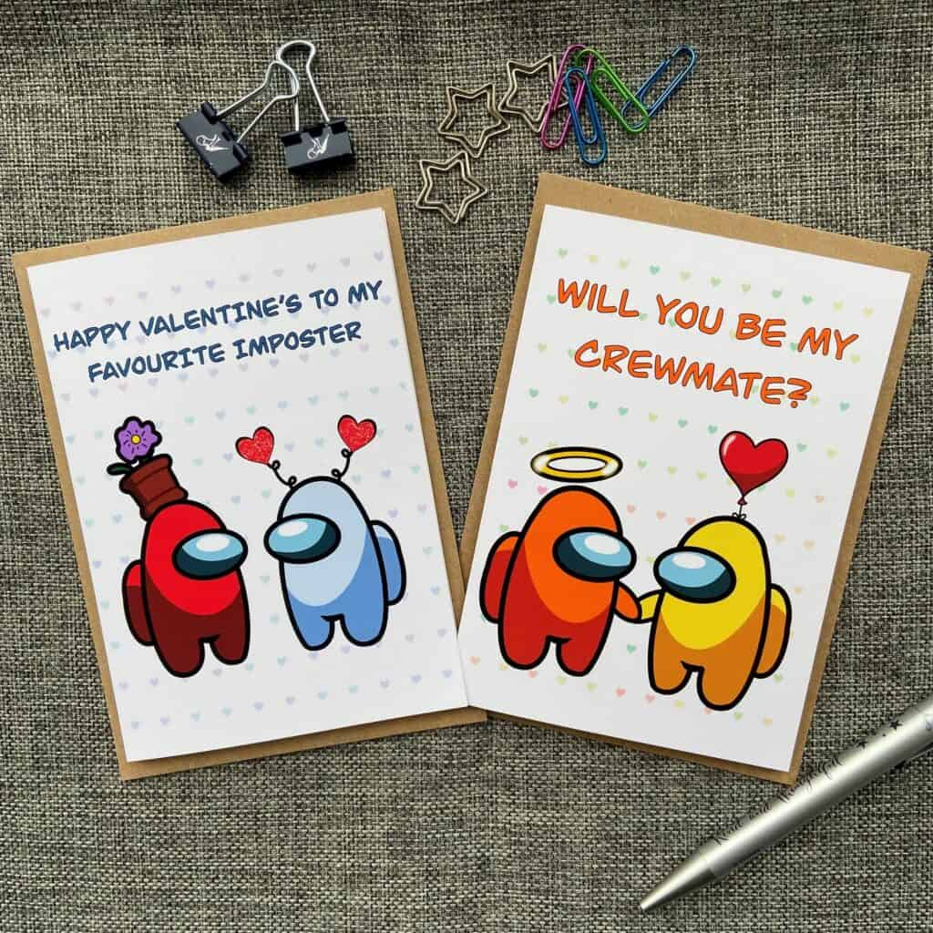 Among Us Valentine Cards for Kids
