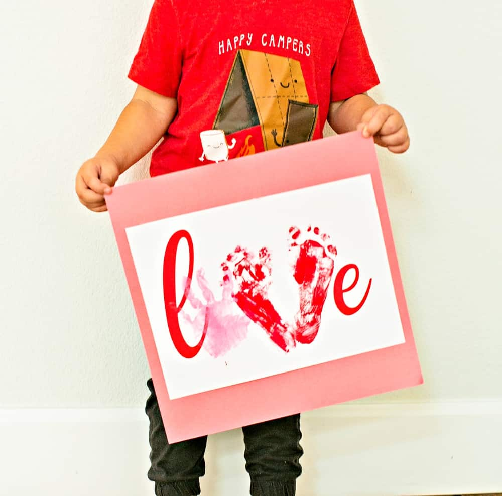 Love Handprint Craft. Preschool Valentine Art Project.