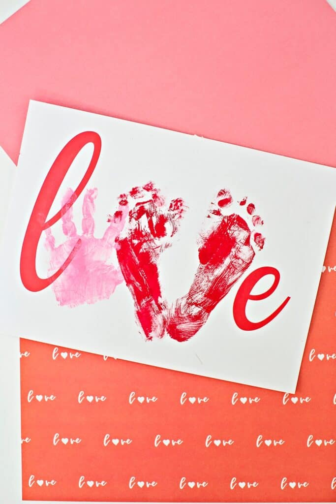 Love Handprint Art. Preschool Valentine Craft.