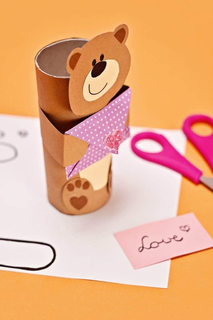 paper tube bear craft Valentine favor
