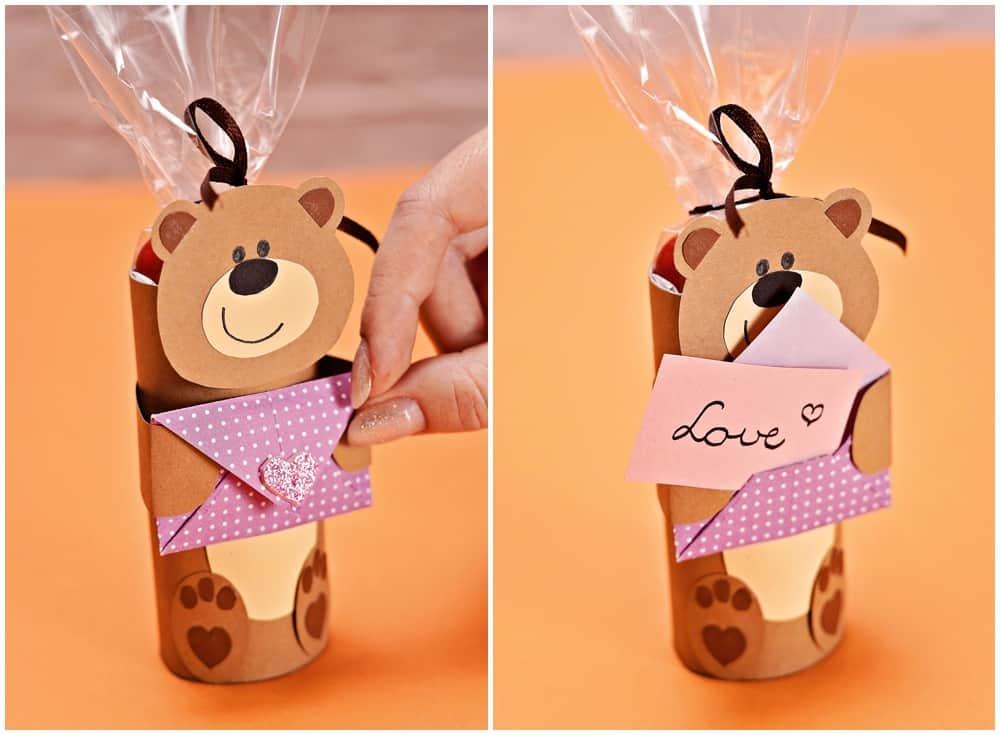 Paper Tube Valentine Bear Craft