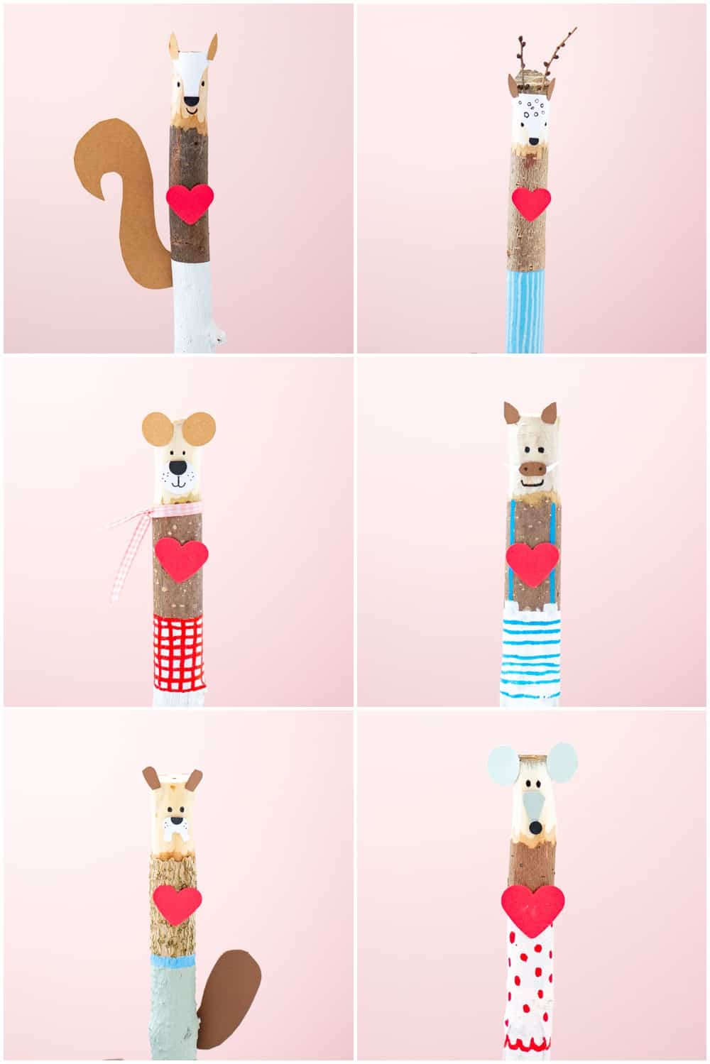 Valentine stick craft for kids. Cute nature Valentine craft.