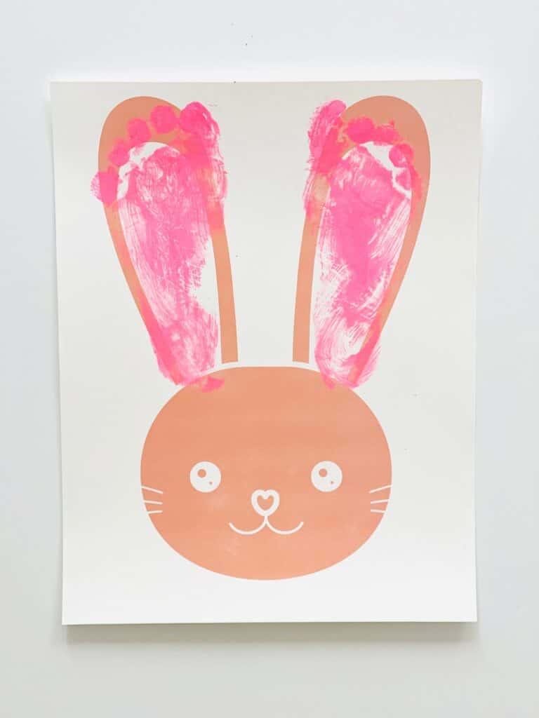 printable easter bunny craft - footprint art