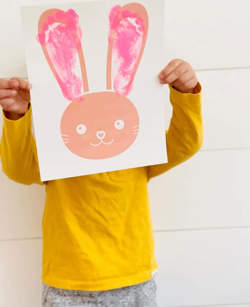 This Bunny Footprint Art is a cute Easter bunny craft for kids