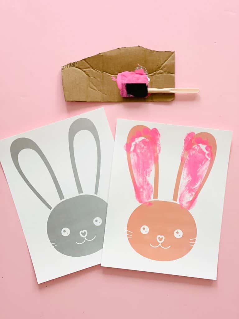 Free printable bunny easter footprint craft