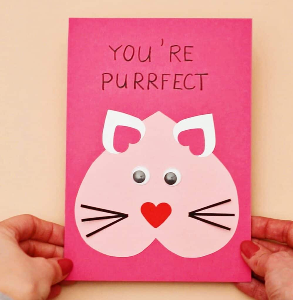 DIY Valentine Cat Card - Cute and easy Valentine Craft for Kids