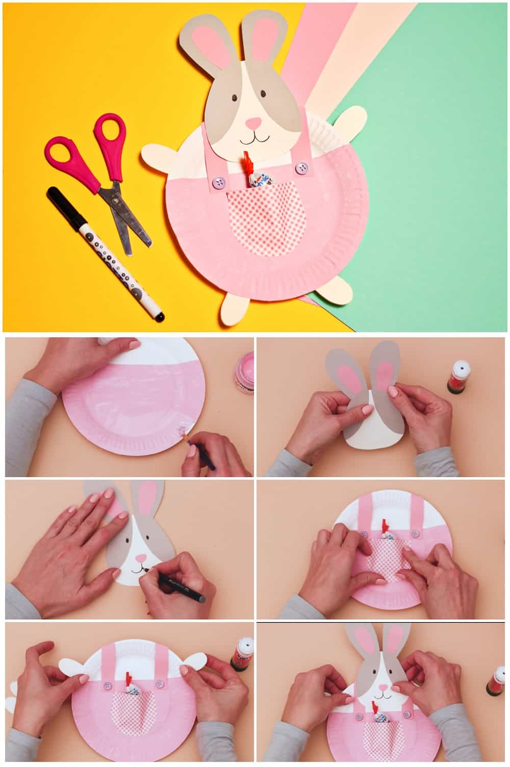 Bunny Easter Craft for Kids - paper plate Easter Craft