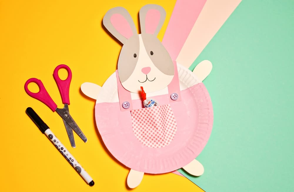 PAPER PLATE BUNNY EASTER CRAFT
