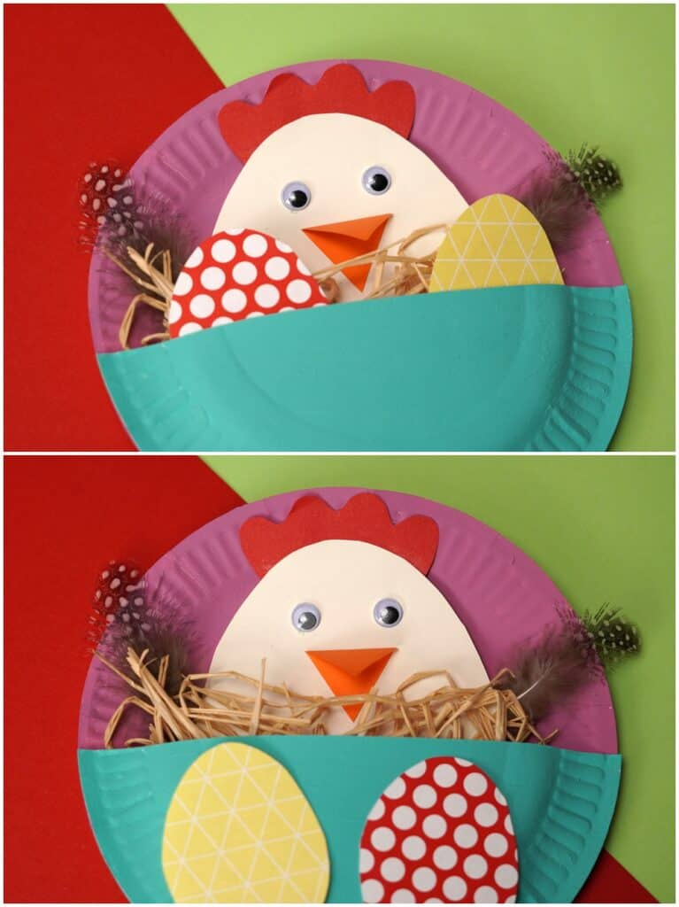 PAPER PLATE EASTER CRAFT WITH MAMA HEN AND CHICK EGGS