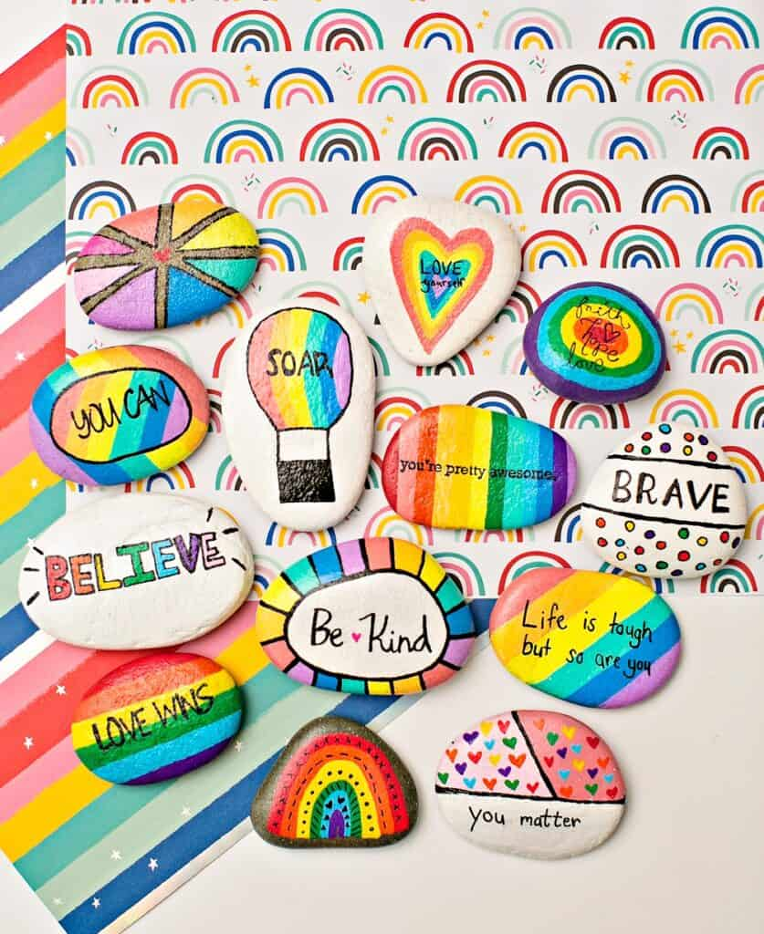 KINDNESS RAINBOW PAINTED ROCKS