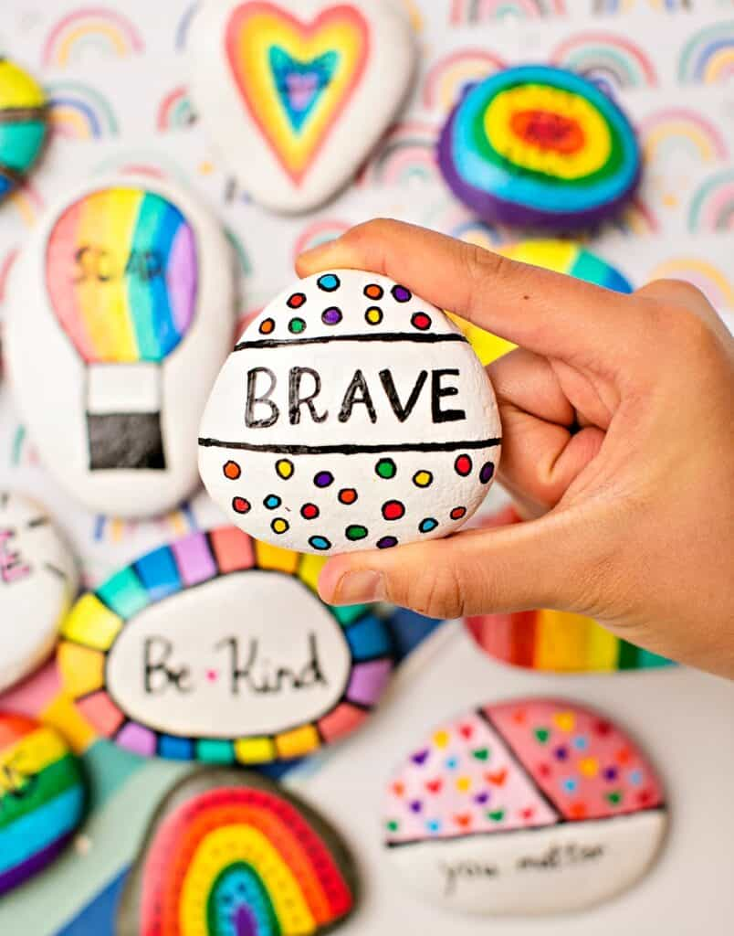 RAINBOW KINDNESS ROCKS - INSPIRATIONAL PAINTED ROCKS