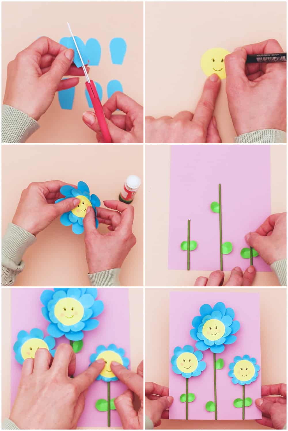 how to make easy paper flowers with kids craft