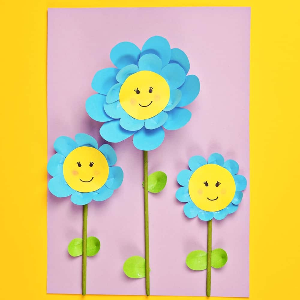 Easy Paper Flower Craft for Kids   Cute Spring Paper Craft