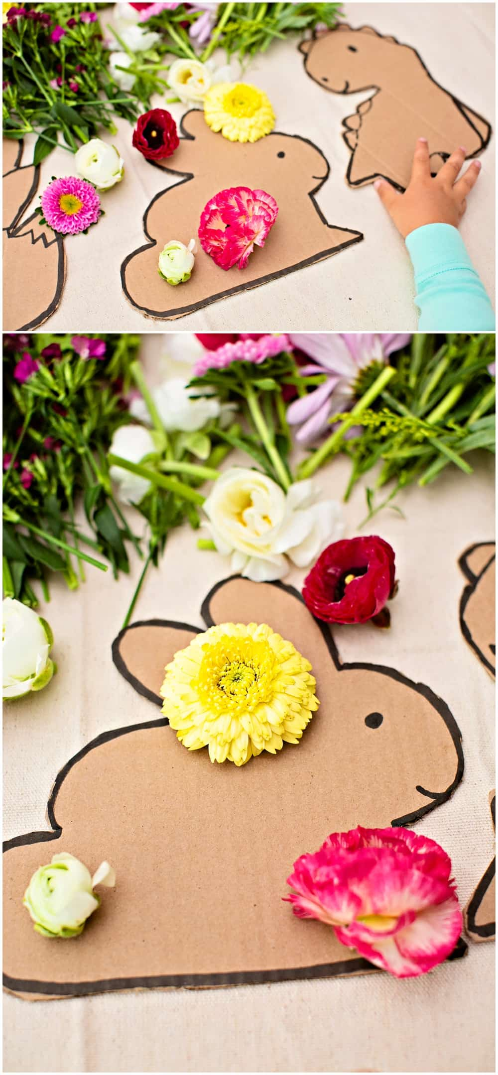 outdoor nature craft activity with flowers for kids