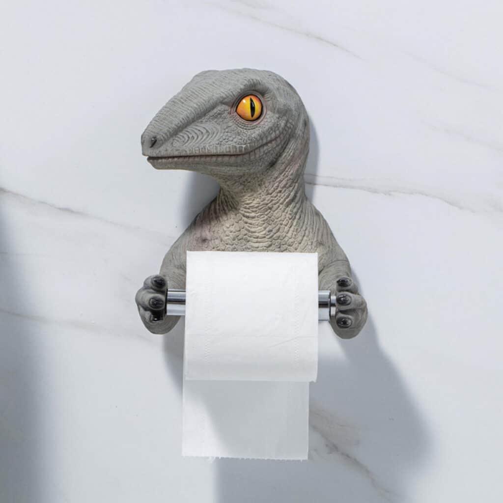 dinosaur toilet paper hanger