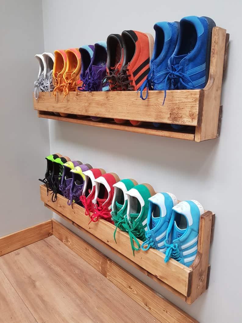 wooden shoe hanging rack