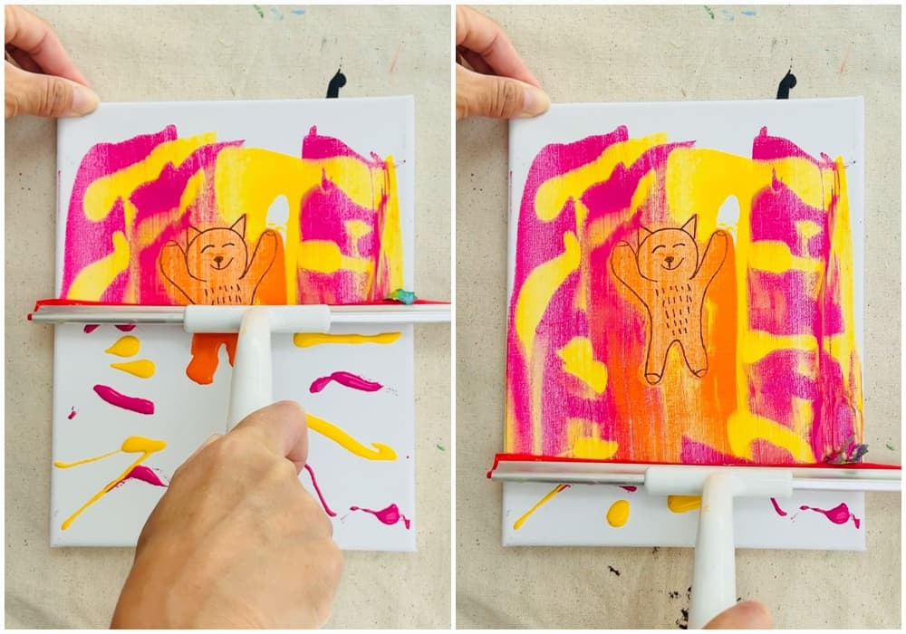 squeegee paint drawing reveal