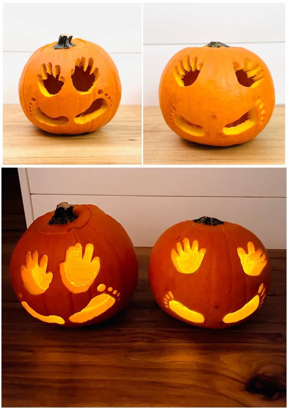 Baby Pumpkin Handprint and Footprint Carving